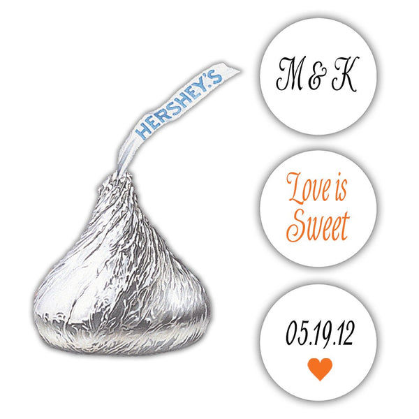 Wedding Hershey kiss stickers - Black/Orange - Dazzling Daisies