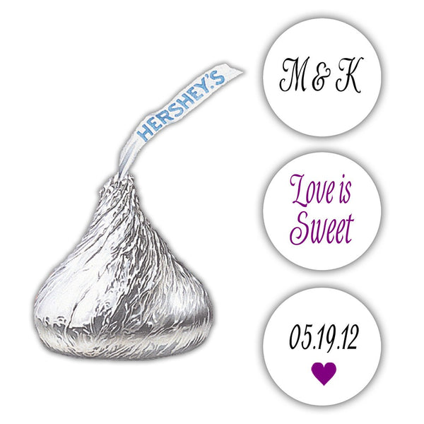 Wedding Hershey kiss stickers - Black/Purple - Dazzling Daisies