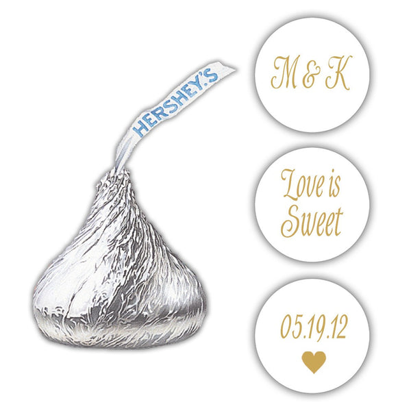 Wedding Hershey kiss stickers - Gold - Dazzling Daisies