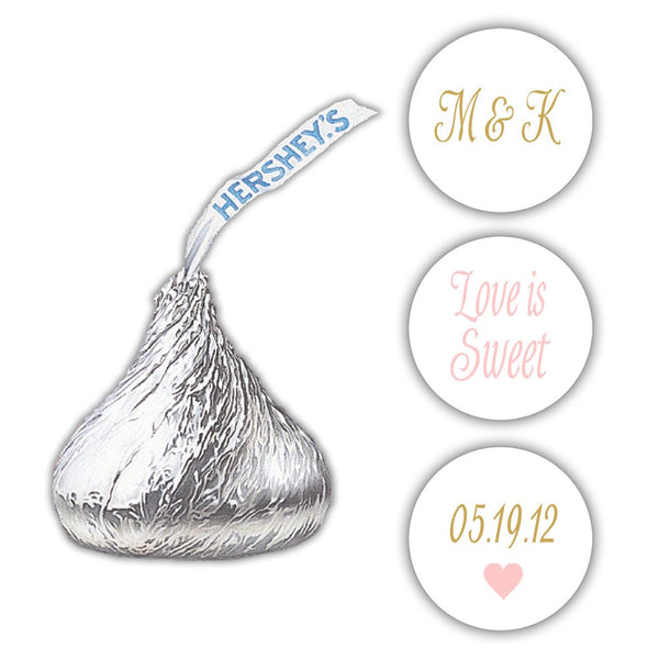 Wedding Hershey kiss stickers - Gold/Blush - Dazzling Daisies
