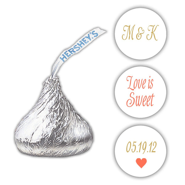 Wedding Hershey kiss stickers - Gold/Coral - Dazzling Daisies