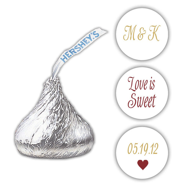 Wedding Hershey kiss stickers - Gold/Maroon - Dazzling Daisies