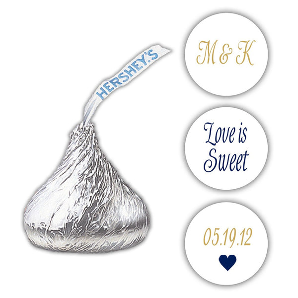 Wedding Hershey kiss stickers - Gold/Navy - Dazzling Daisies
