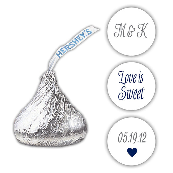 Wedding Hershey kiss stickers - Gray/Navy - Dazzling Daisies