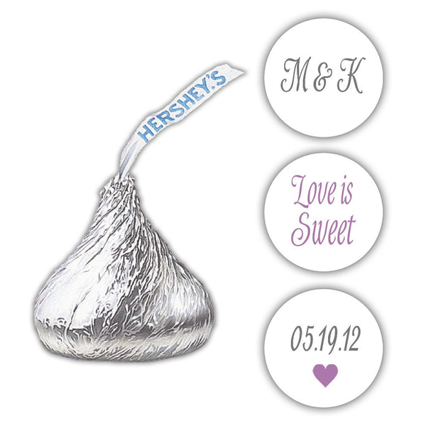 Wedding Hershey kiss stickers - Gray/Plum - Dazzling Daisies