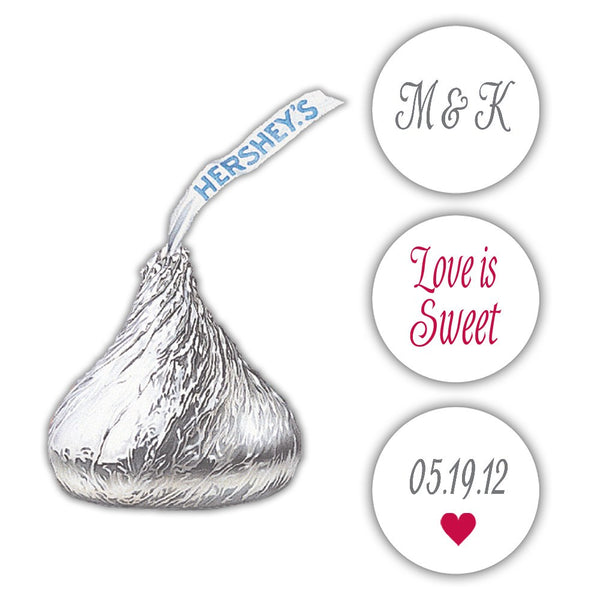 Wedding Hershey kiss stickers - Gray/Raspberry - Dazzling Daisies