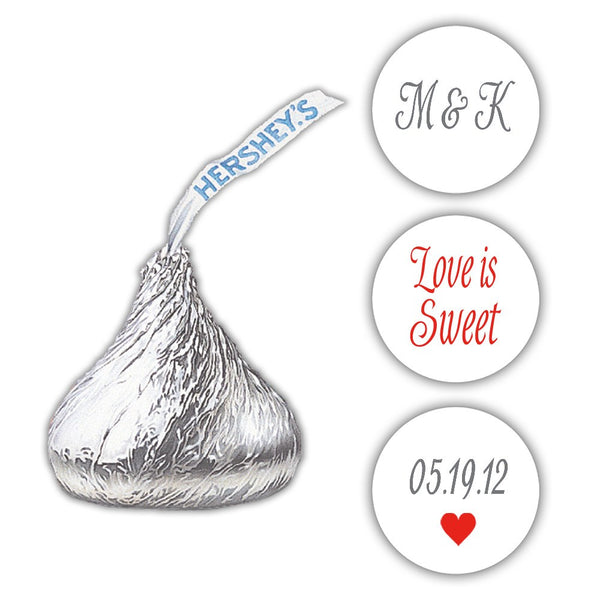 Wedding Hershey kiss stickers - Gray/Red - Dazzling Daisies