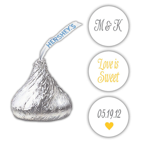 Wedding Hershey kiss stickers - Gray/Yellow - Dazzling Daisies
