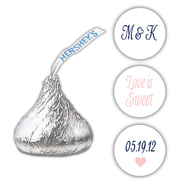 Wedding Hershey kiss stickers - Navy/Blush - Dazzling Daisies