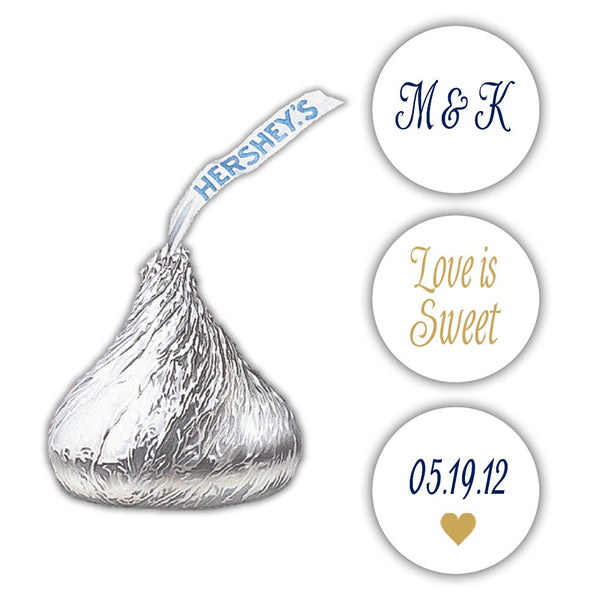 Wedding Hershey kiss stickers - Navy/Gold - Dazzling Daisies