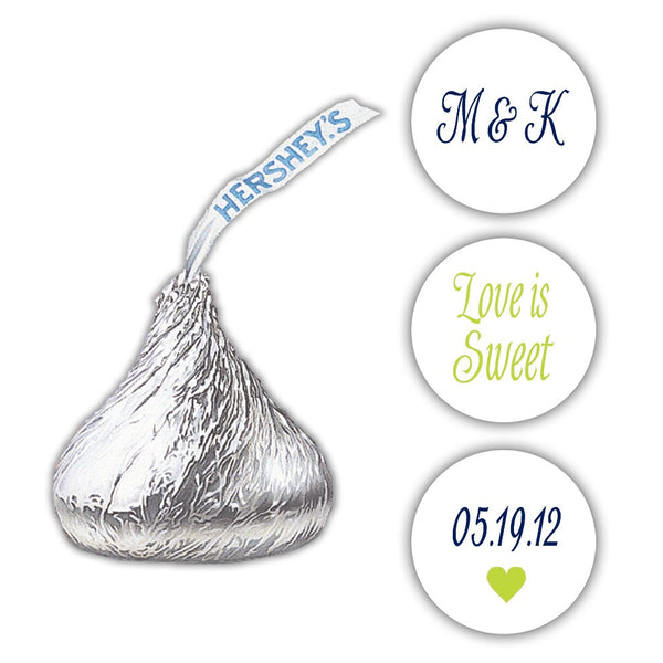 Wedding Hershey kiss stickers - Navy/Lime - Dazzling Daisies
