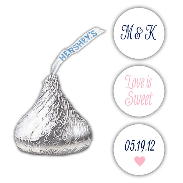 Wedding Hershey kiss stickers - Navy/Pink - Dazzling Daisies