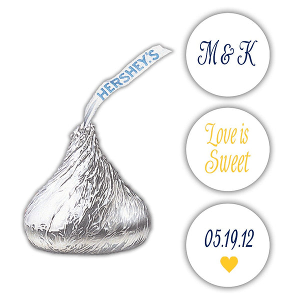 Wedding Hershey kiss stickers - Navy/Yellow - Dazzling Daisies
