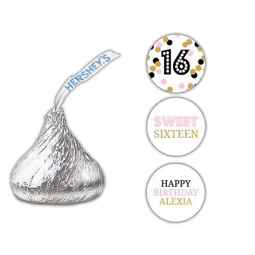 Sweet sixteen Hershey kiss stickers 'Polka galore' - Pink - Dazzling Daisies