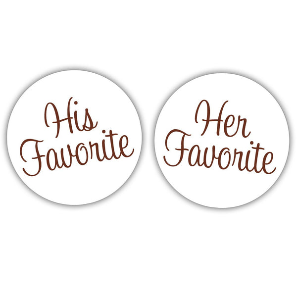"His favorite, her favorite stickers - 1.5"" circle = 30 labels per sheet / Chocolate - Dazzling Daisies"