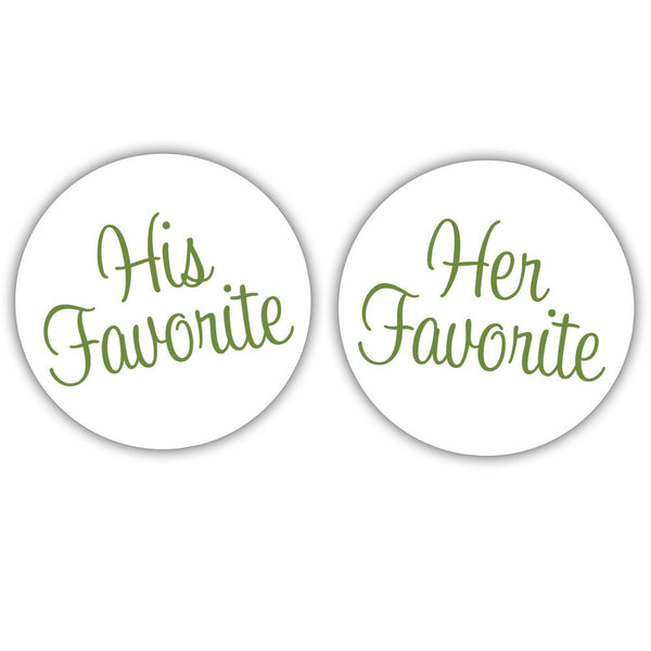 "His favorite, her favorite stickers - 1.5"" circle = 30 labels per sheet / Olive - Dazzling Daisies"