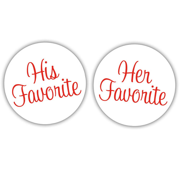 "His favorite, her favorite stickers - 1.5"" circle = 30 labels per sheet / Red - Dazzling Daisies"
