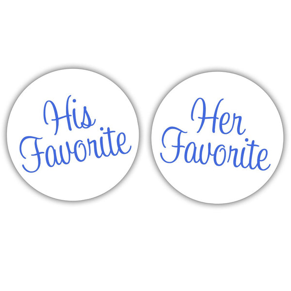 "His favorite, her favorite stickers - 1.5"" circle = 30 labels per sheet / Royal blue - Dazzling Daisies"