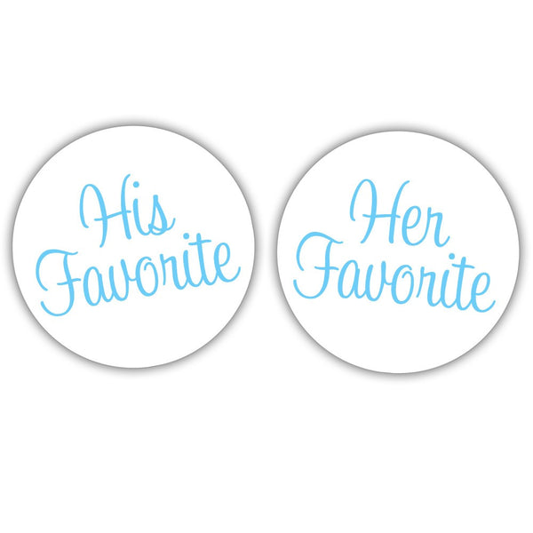 "His favorite, her favorite stickers - 1.5"" circle = 30 labels per sheet / Sky blue - Dazzling Daisies"