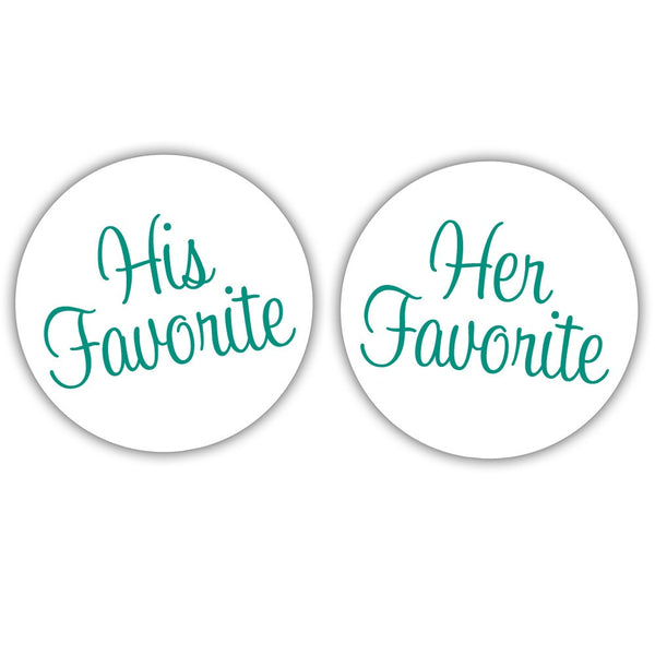 "His favorite, her favorite stickers - 1.5"" circle = 30 labels per sheet / Teal - Dazzling Daisies"