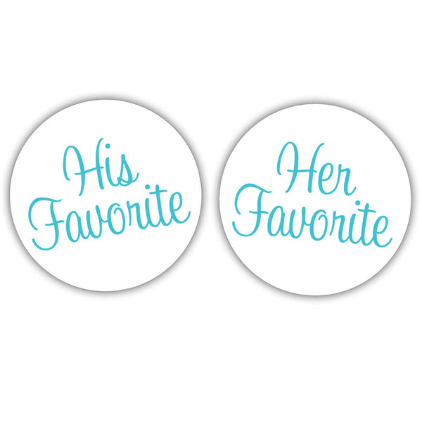 "His favorite, her favorite stickers - 1.5"" circle = 30 labels per sheet / Turquoise - Dazzling Daisies"
