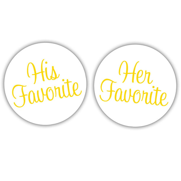 "His favorite, her favorite stickers - 1.5"" circle = 30 labels per sheet / Yellow - Dazzling Daisies"