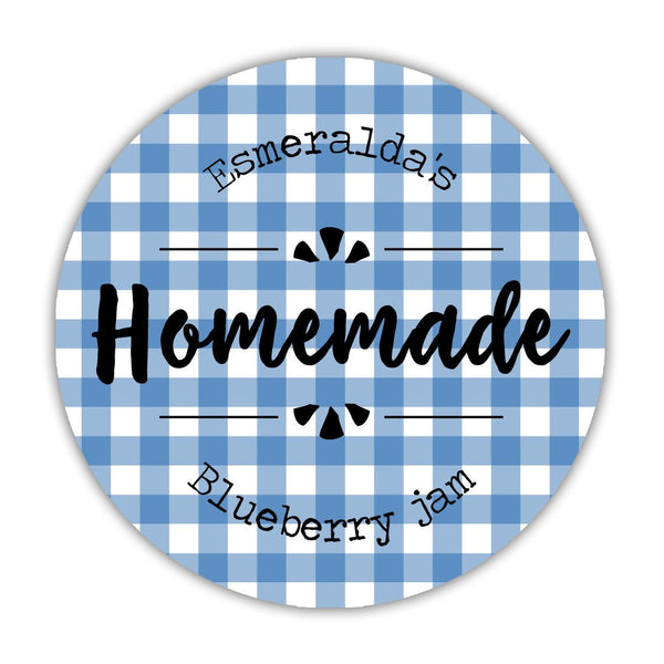 "Canning jar labels 'Plaid Perfection' - 1.5"" circle = 30 labels per sheet / Blue - Dazzling Daisies"