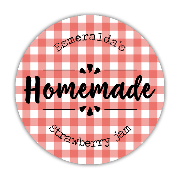 "Canning jar labels 'Plaid Perfection' - 1.5"" circle = 30 labels per sheet / Red - Dazzling Daisies"