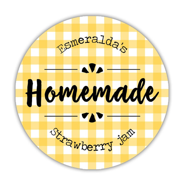 "Canning jar labels 'Plaid Perfection' - 1.5"" circle = 30 labels per sheet / Yellow - Dazzling Daisies"