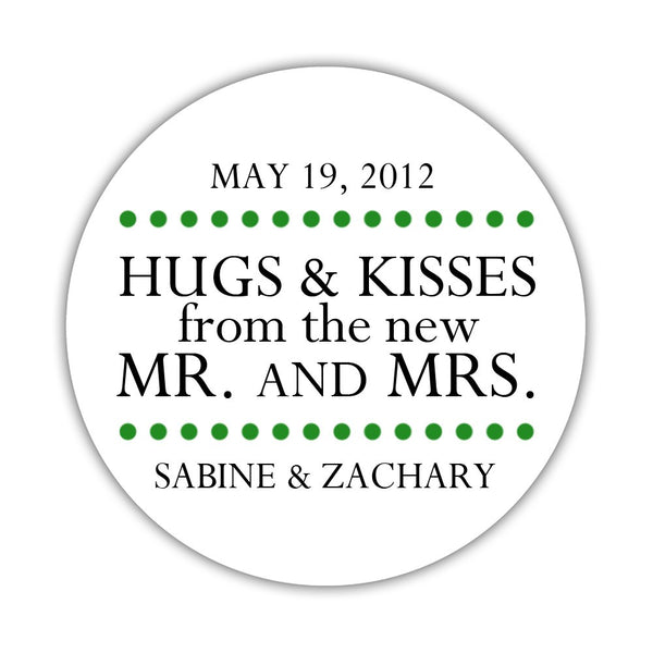 "Hugs and kisses stickers 'Splendid Symmetry' - 1.5"" circle = 30 labels per sheet / Green - Dazzling Daisies"