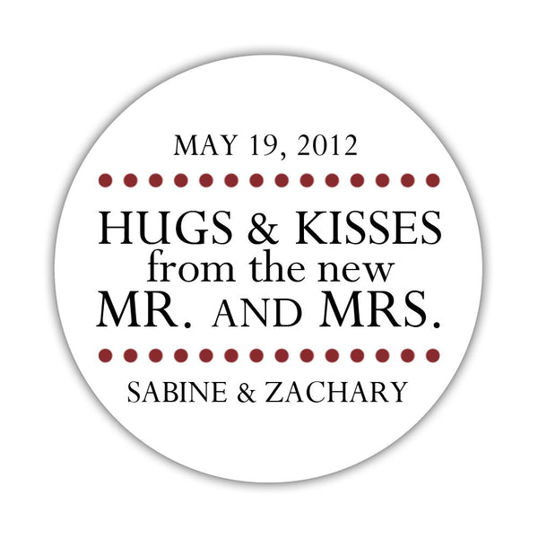 "Hugs and kisses stickers 'Splendid Symmetry' - 1.5"" circle = 30 labels per sheet / Maroon - Dazzling Daisies"