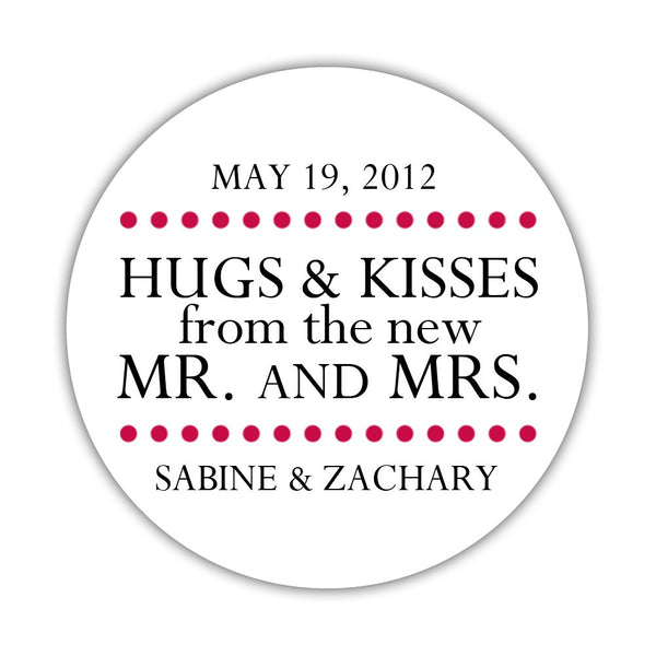 "Hugs and kisses stickers 'Splendid Symmetry' - 1.5"" circle = 30 labels per sheet / Raspberry - Dazzling Daisies"