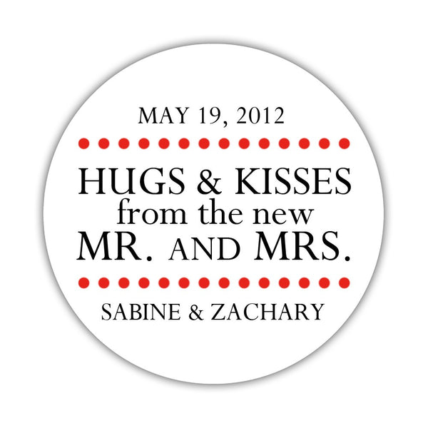 "Hugs and kisses stickers 'Splendid Symmetry' - 1.5"" circle = 30 labels per sheet / Red - Dazzling Daisies"