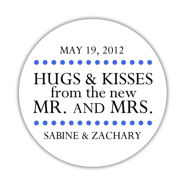 "Hugs and kisses stickers 'Splendid Symmetry' - 1.5"" circle = 30 labels per sheet / Royal blue - Dazzling Daisies"