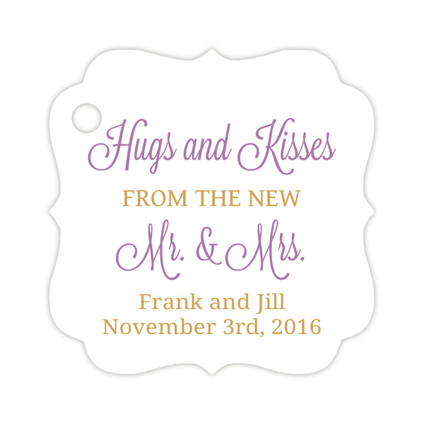 Hugs and kisses tags - Gold/Plum - Dazzling Daisies