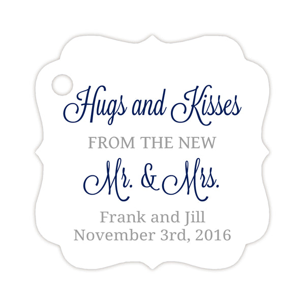 Hugs and kisses tags - Silver/Navy - Dazzling Daisies