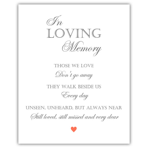 "In loving memory sign - 5x7"" / Coral - Dazzling Daisies"