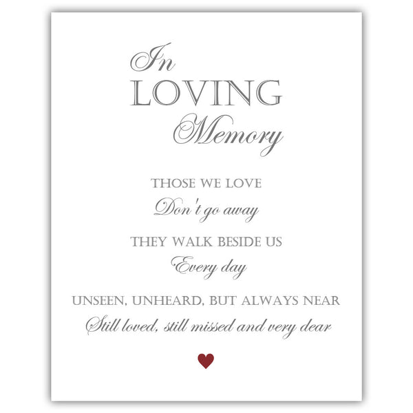 "In loving memory sign - 5x7"" / Maroon - Dazzling Daisies"