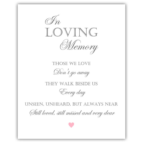 "In loving memory sign - 5x7"" / Pink - Dazzling Daisies"