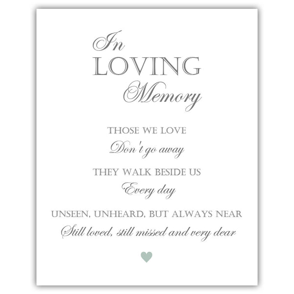 "In loving memory sign - 5x7"" / Sage - Dazzling Daisies"
