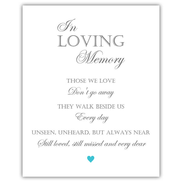 "In loving memory sign - 5x7"" / Turquoise - Dazzling Daisies"