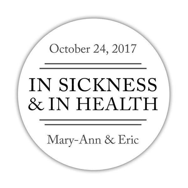 "In sickness and in health stickers - 1.5"" circle = 30 labels per sheet / Black - Dazzling Daisies"