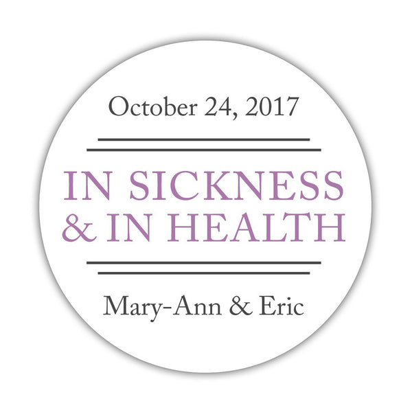 "In sickness and in health stickers - 1.5"" circle = 30 labels per sheet / Plum - Dazzling Daisies"