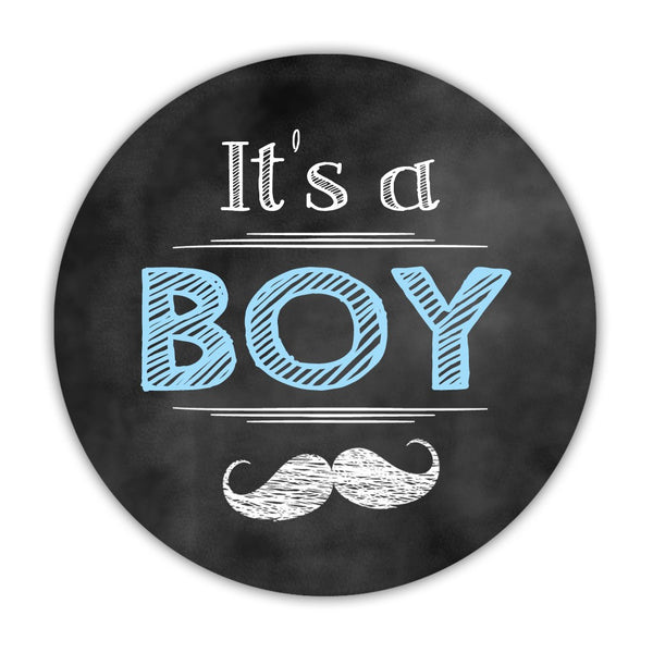"It's a boy stickers, It's a girl stickers 'Vintage Chalk' - 1.5"" circle = 30 labels per sheet / It's a boy - Dazzling Daisies"