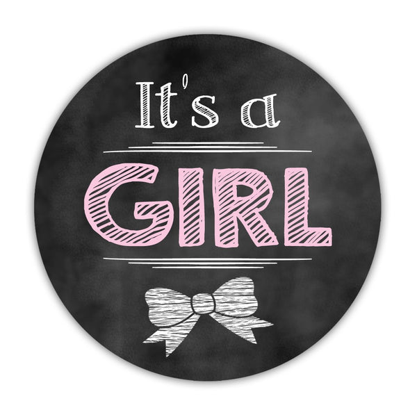 "It's a boy stickers, It's a girl stickers 'Vintage Chalk' - 1.5"" circle = 30 labels per sheet / It's a girl - Dazzling Daisies"