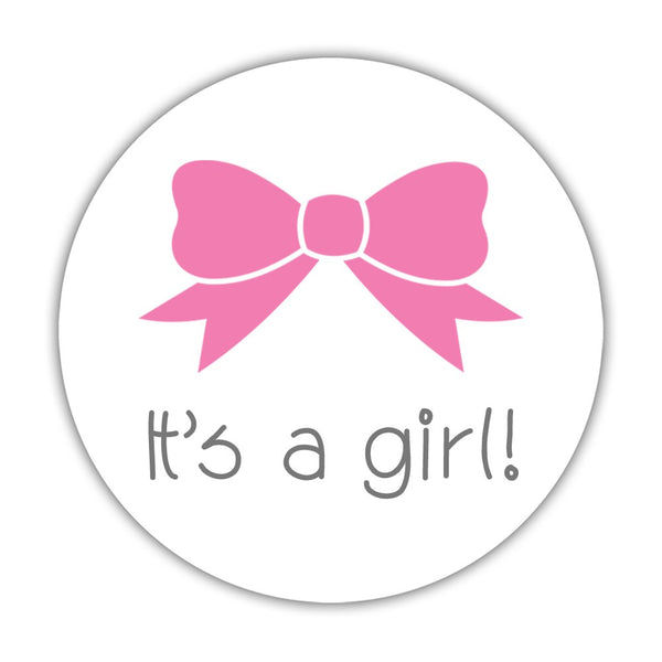 "It's a boy stickers, It's a girl stickers 'Bow and Mustache' - 1.5"" circle = 30 labels per sheet / It's a girl - Dazzling Daisies"