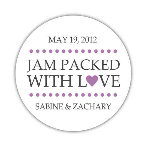 "Jam packed with love stickers - 1.5"" circle = 30 labels per sheet / Plum - Dazzling Daisies"