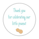 "Little peanut baby shower stickers - 1.5"" circle = 30 labels per sheet / Aquamarine - Dazzling Daisies"