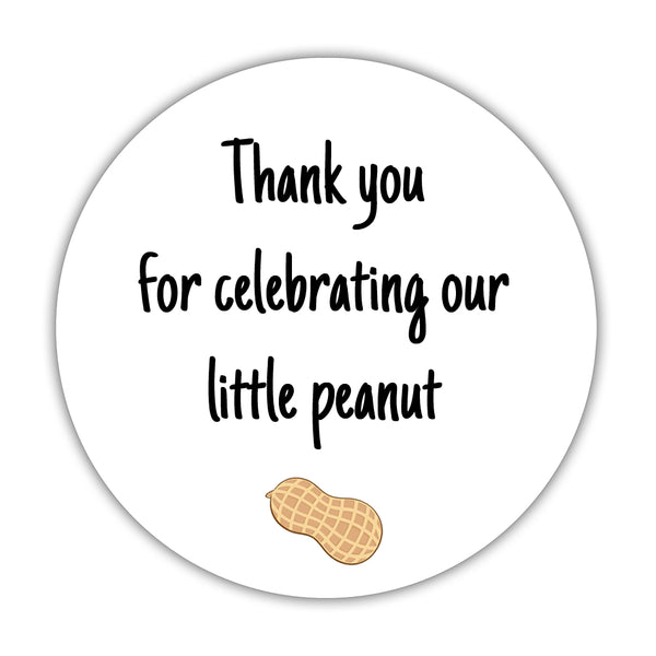 "Little peanut baby shower stickers - 1.5"" circle = 30 labels per sheet / Black - Dazzling Daisies"