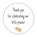 "Little peanut baby shower stickers - 1.5"" circle = 30 labels per sheet / Gray - Dazzling Daisies"